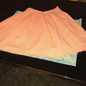 Orange & white polkadot lularoe skirt